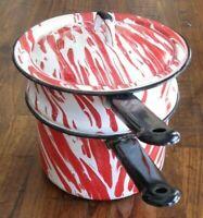 ANTIQUE RED & WHITE LARGE SWIRL GRANITEWARE DOUBLE BOILER POT & LID ENAMELWARE