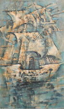 VINTAGE OIL PAINTING ABSTRACT BATLESHIP