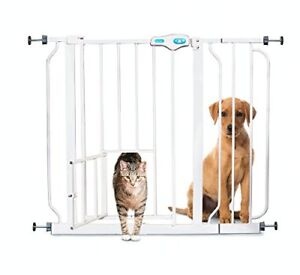 Baby Dog Cat Pet Safety Gates Doggie Doors Steel Expandable For Doorways Stairs