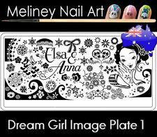 Dream Girl 1 Stamping Nail Art Image Plate Design Rectangle Christmas Snowflake