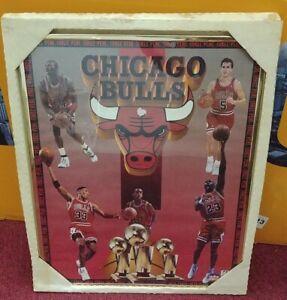 Chicago Bulls 1993 Three Peat Vintage ORIGINAL Poster Michael Jordan BRAND NEW