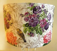 "Floral Bird Lampshade Made UK Drum Table Ceiling 8"" 10"" 12"" 14 16 18 Shabby Chic"
