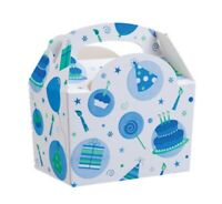 Boys Blue Celebration Party Food Boxes ~ Baby 1st Birthday Party Bag Plate Box