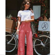 NWT Zara Red White Striped Wide Leg High Waisted Trousers Palazzo Pants M