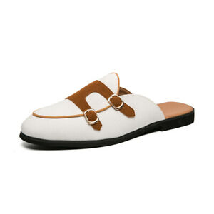 38-47 Men Flats Slingbacks Loafers Shoes Buckles Slip On Slippers Vogue Summer L