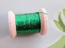 Vintage Emerald Green Metallic Tinsel  Fly Tying Embroidery Weaving Knitting
