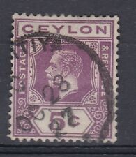 1927 GV CEYLON 5c GOOD USED SG341 MULTI SCRIPT CA