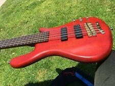 2001 Warwick Streamer LX 5 Broadneck Satén Rojo 5 Cuerda Con / FENDER Funda