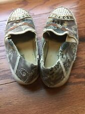 "Distressed Canvas Slip On Shoes ""London"" Rhinestones and Camouflage Flight Wing"