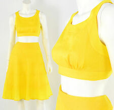 Womens M Bright Yellow Linen Outfit Crop Top Tiered Circle Skirt