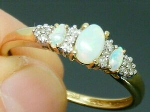 9ct Gold Fiery Opal  & Diamond Hallmarked Ring size U