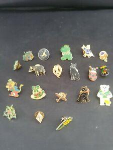 Job Lot Of Vintage Mixed Enamel Pin Badges - Animals People Christmas Flowers