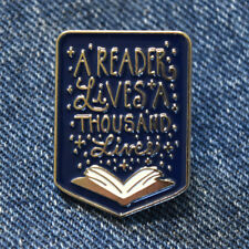 Book Lover Slogan Enamel Pin Lapel Brooch A Reader Lives A Thousand Lives