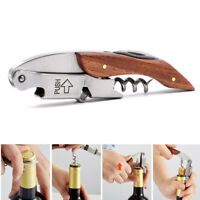 Wine Beer Bottle Opener Stainless Steel Hippocampus Corkscrew W/Wood Handle New