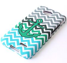 For LG Optimus L70 MS323 / D325 - HARD FITTED SKIN CASE TURQUOISE GREEN ANCHOR