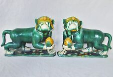 """Antique ? Pair of Chinese Shiwan Style Green Pottery Monkeys w/ Peaches  (12.3"""")"""