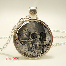 Vintage Skull  Cabochon Tibetan silver Glass Chain Pendant Necklace #F18