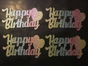 Happy Birthday Cup Cake Toppers party cake decorations Rainbow Glitter Pack of 6