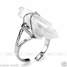 Clear Rock Quartz Crystal Freeform Random Stone Chakra Healing Finger Ring US 7