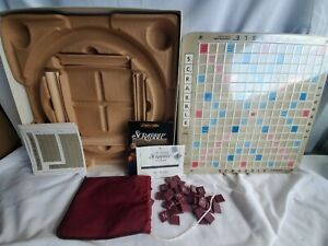 Scrabble Deluxe Edition Word Game 1989 Complete! Turntable Board Milton Bradley
