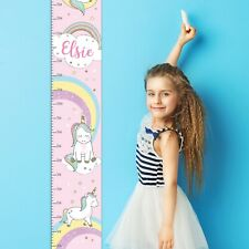 Personalised Children's Baby Rainbow Unicorn Height Chart. Playroom. bedroom.