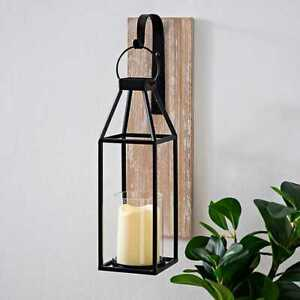 Wood and Metal Hanging Lantern Sconce. Elegant Classic Farm House Decor