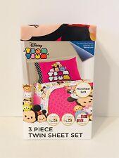 Disney Tsum Tsum 3 Piece Twin Sheet Set Bedding Olaf Tigger Minnie Mickey Mouse