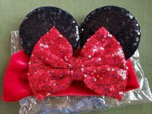 Baby Girls Sequin Headband Minnie Mouse Ears Hairband Bow Knot Turban Head Wrap