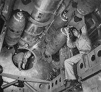 WWII Photo USAAF B-29 Bomb Bay Bomb Arming  WW2 B&W World War Two / 5104