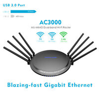 AC3000 MU-MIMO Tri-band Wi-Fi Router,Gigabit Smart Wireless Router Touchlink USB