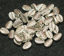50 TIBETAN SILVER LEAF SHAPED BEADS 8 x 6 x 3mm (BBA179)