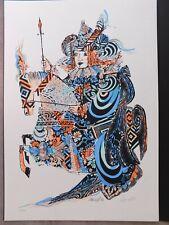 """Serigrafia """"Lancillotto"""" Emanuele Luzzati 1988. Artist's signature."""