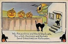 H1450   HALLOWEEN    POSTCARD,    BLACK  CATS  &    PUMPKINS