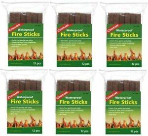 Coghlan's Waterproof Fire Sticks Tinder Fire Starters 6 packs of 12 sticks each