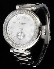 Silver Finish Iced Out Bling CZ Bezel Womens Metal Roman Dial Quartz Watch New