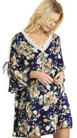 UMGEE Womens Navy Floral Crocheted Long Sleeve Boho Bohemian Flowy Dress S M L