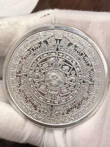 Scarce 5 Oz .999 Silver Aztec Mayan Calendar Cuauhtemoc Bullion Round in Bag