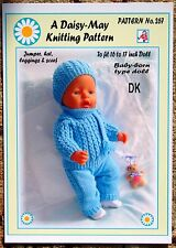 "DOLLS KNITTING PATTERN 16""-18""inch BABYBORN type doll. 267 A Val Young Pattern"