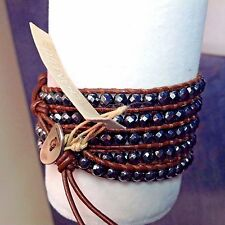 AUTHENTIC CHAN LUU Faceted HEMATITE Nuggets BROWN LEATHER 5X Wrap Bracelet CL2B