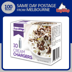 100 BULBS SUPAWHIP CREAM CHARGERS 10 PACK X 10 WHIPPER NITROUS OXIDE WHIPPED