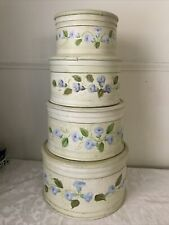 Set Four Large Iris Floral Nesting Boxes Stacking Wood Velvet Lined Shabby Chic