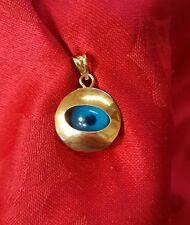 14k yellow gold evil eye disk pendant charm