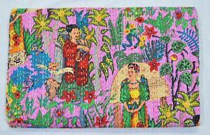 Indian Cotton Applique Queen Size Kantha Quilt Gudari Throw Bedspread Coverlet