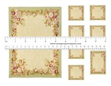 Dollhouse Miniature Computer Printed Fabric Shabby Chic Kitchen Tablecloth 1:12