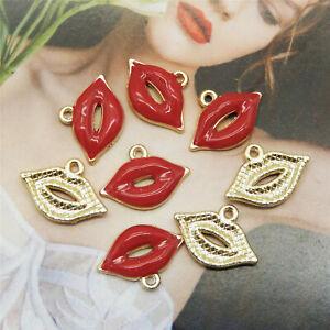 20PCS 19X13mm Enamel Alloy Red Makeup Lipstick Charms Pendant Jewelry DIY Crafts