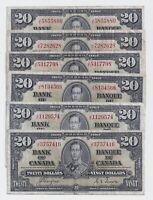 1937 $20 Canada Bank Note Prefix J/E Coyne Towers - F/VF