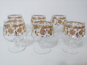 """6 CULVER GLASS Chantilly Brandy Cognac Glasses 22kt Gold Signed 3.75"""" tall"""