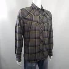 Snap Button Shirt G-Star RAW 3301 Blanner Jack Long Sleeve Brown Plaid Mens Sz L