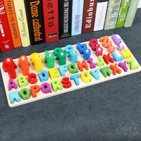 Wooden Preschool Learning Toy Ring Montessori Math Counting Board Kids Children