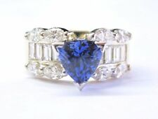 Diamond Solid Yellow Gold Ring 4.89Ct Natural Gem Trillion Cut Tanzanite &